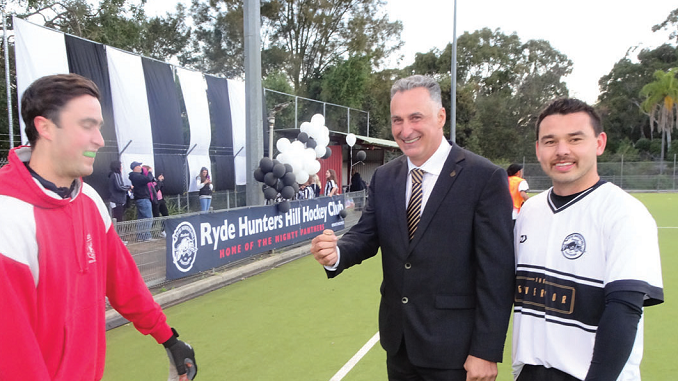 NSW Sports Minister John Sidoti attends Ryde Hunters Hill Panthers hockey match